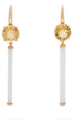 Francesca Villa Citrine, Venetian Bugle & Gold Drop Earrings - Womens - Yellow