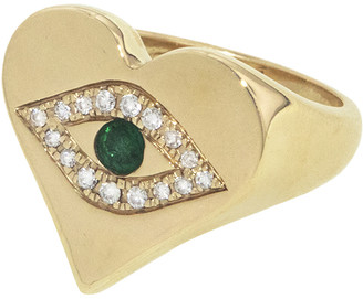 Jacquie Aiche Emerald Diamond Pave Heart Shape Ring - Yellow Gold