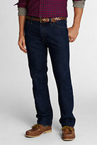 Lands' End Men's Pre-hemmed Straight Fit Jeans-Khaki Pebble Stripe