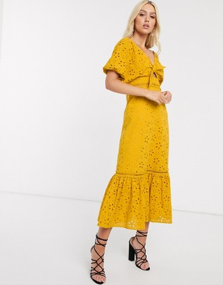 ASOS DESIGN broderie knot front maxi dress in mustard