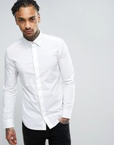 Diesel Shirt S-Nap Slim Stretch Fit Core Concealed Placket In White