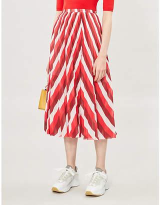 Samsoe & Samsoe Cocos chevron-stripe crepe midi skirt