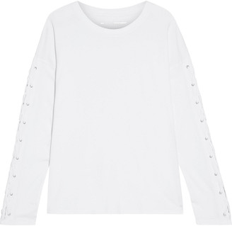 DKNY Lace-up Stretch Cotton And Modal-blend Jersey Top