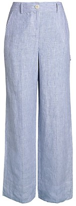 Theory Striped Linen Wide-Leg Carpenter Pants