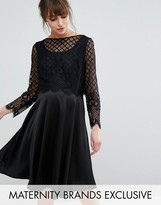 Queen Bee Skater Dress With Satin Skirt And Caged Lace Overlay
