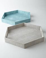 Regina-Andrew Design Ivory Faux-Shagreen Hexagonal Tray