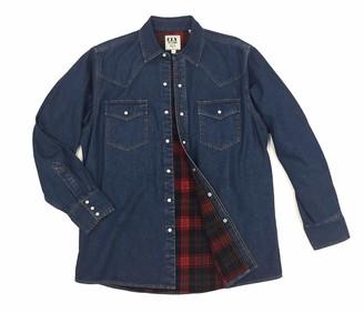 ELY CATTLEMAN Big & Tall Men's Big Long Sleeve Button Up Flannel Lined Denim Shirt 3X-Large Tall