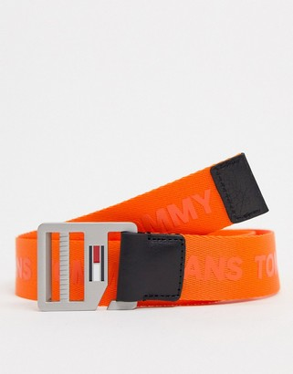 Tommy Jeans logo d-ring belt in orange