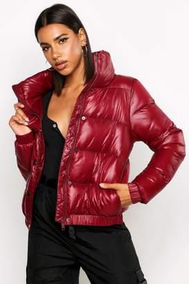boohoo High Shine Panelled Puffer Jacket