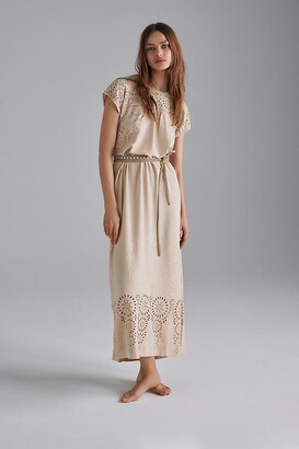 Bobbie Eyelet Maxi Dress By Tiny in Beige Size S