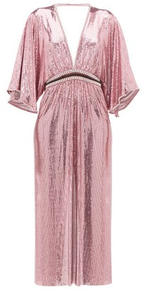 Paco Rabanne Crystal-embellished Plunge-neck Chainmail Dress - Pink