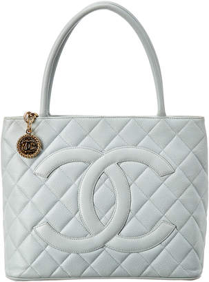 Chanel Light Blue Quilted Caviar Leather Medallion Tote