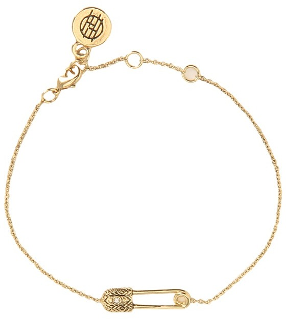 House Of Harlow Petite Safety Pin Bracelet (Gold/Black) - Jewelry