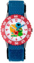 Sesame Street Children's Character Friends Time Teacher Watch in Red Plastic w/Blue Nylon Strap
