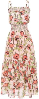 Tory Burch Shirred Floral-print Cotton-mousseline Maxi Dress