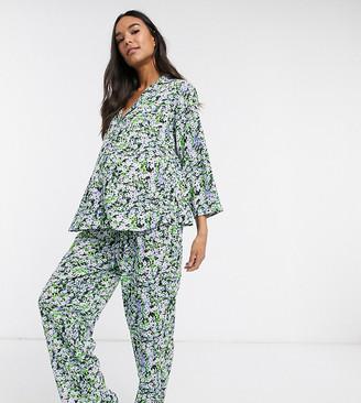 ASOS DESIGN Maternity ditsy floral traditional pyjama set in 100% modal