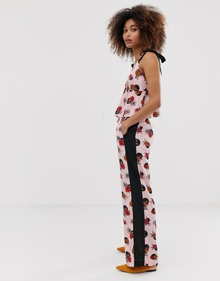 Neon Rose wide leg pants with side stripe in spot floral two-piece