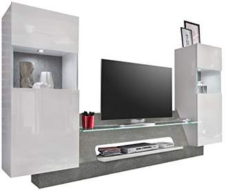 Furnline Living Room Furniture Wall Unit Air High Gloss TV Stand, Wood, White