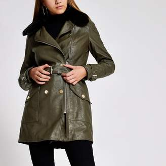 River Island Womens Khaki faux leather belted jacket