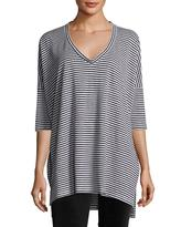Eileen Fisher Striped Organic Linen Jersey V-Neck Tunic, Plus Size