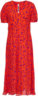 McQ Floral-print Silk Crepe De Chine Dress
