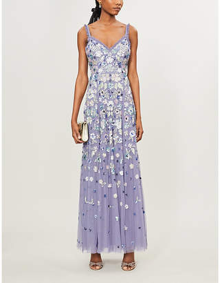 Selfridges Needle And Thread Wildflower floral sequin-embellished tulle gown