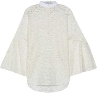Valentino Pique-trimmed Cotton-blend Corded Lace Blouse
