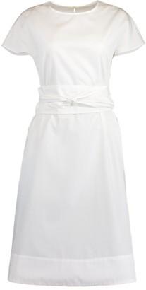 Aspesi White Round Neck Belted Dress