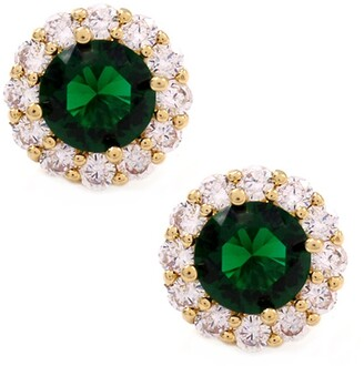 Savvy Cie 18K Yellow Gold Plated Lab Created Emerald & CZ Halo Stud Earrings