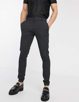 Asos Design DESIGN smart super skinny pants in charcoal with jogger cuffs-Gray