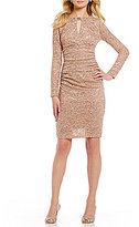 Marina Sequined Lace Keyhole-Neck Sheath Dress