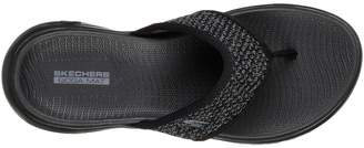 Skechers On-The-Go 600 Glossy Flip Flop Shoes - Black