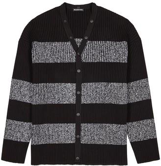 Balenciaga Striped Ribbed Cotton Cardigan