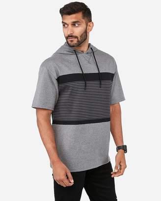 Express Color Block Stripe Short Sleeve Hoodie