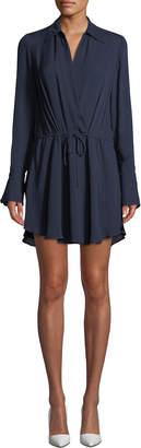 A.L.C. Isobel V-Neck Long-Sleeve Silk Dress