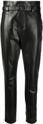 Simonetta Ravizza High-Waist Belted Leather Trousers