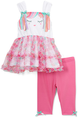 Nannette Kids Girls' Casual Shorts PINK - Pink Mermaid Glitter Sleeveless Tunic & Bow-Accent Shorts - Infant
