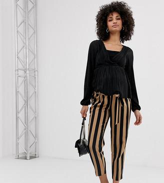 New Look Maternity stripe tie waist trousers in black pattern