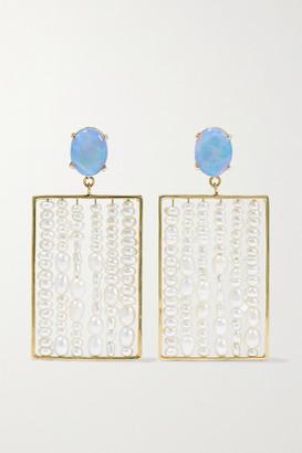 WWAKE + Net Sustain 14-karat Gold, Pearl And Opal Earrings - one size