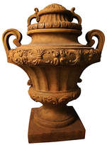 "Orlandi Statuary 31"" Embellished Urn with Lid - Sandstone"