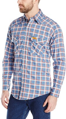 Wrangler Men's Flame Resistant Western Work Lightweight Blue Red Plaid Woven Shirt