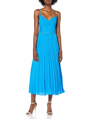 Karen Millen Women's Chain Detail Strap Pleat Dress Party