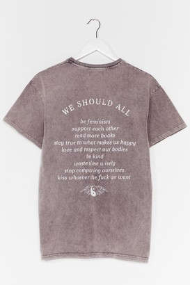 Nasty Gal Womens We Should All Graphic Tee - Grey - S