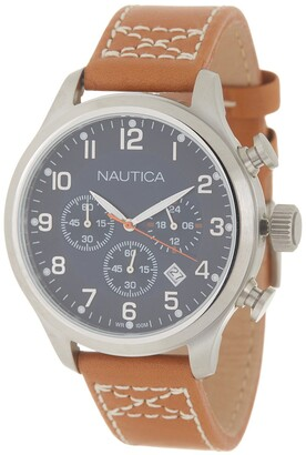 Nautica Men's Leather Strap Watch, 44mm