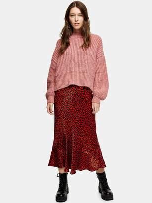 Topshop Heart Flounce Midi Skirt - Red