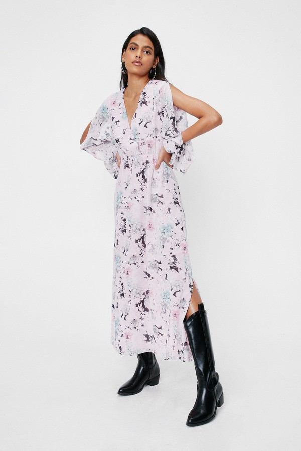Nasty Gal Womens Chiffon Floral Slit Maxi Dress - Blue - 4