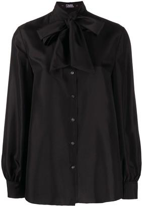 Karl Lagerfeld Paris Tie-Front Silk Shirt