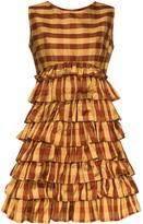 Batsheva printed ruffle skirt mini dress