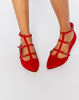 Truffle Collection Nicky T Bar Strappy Point Flat Shoes