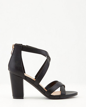 Le Château Faux Leather Criss-Cross Block Heel Sandal